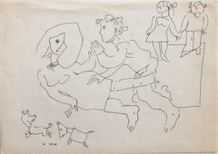 Vintage Israeli Bezalel School Drawing Family Playing, Dogs Puppies Kibbutz Life