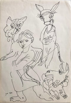 Vintage Israeli Bezalel School Drawing Surrealist Boy with Animals Kibbutz Life