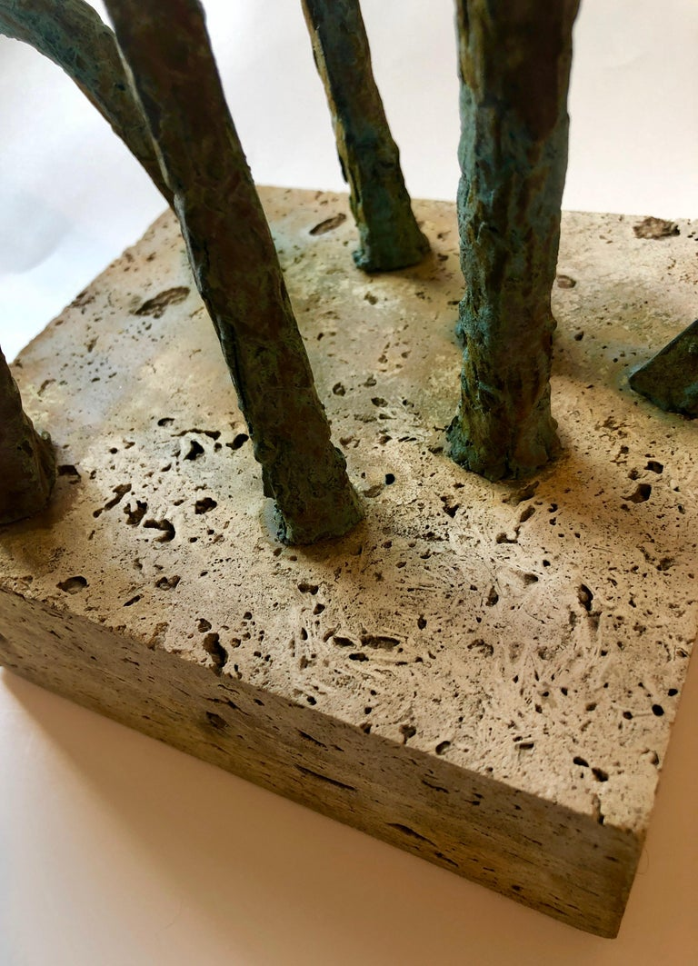 Abstract Signed Cubist Bronze Sculpture