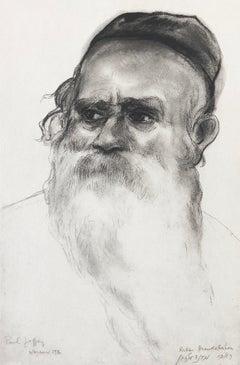Judaica Jewish Etching Hasidic Rabbi Mendelson Portrait Vintage Chassidic Print