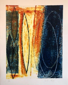 Abstract Expressionist American Modernist Oil Monotype Monoprint Painting