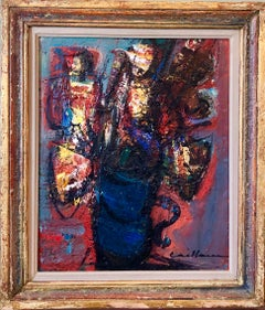 French Post Expressionist Ecole d'Paris Floral Oil Painting Impasto Flowers Vase