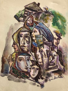 Abstract Houses and Faces Ink Drawing and Watercolor Painting Shtetl Judaica
