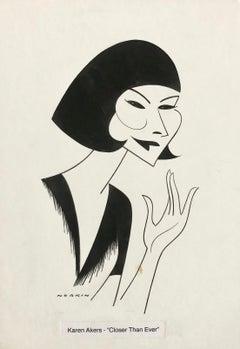 """Karen Akers """"Closer than Ever"""" Caricature Original Ink Drawing Cartoon Theater"""