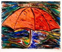Umbrella, Monotype with Hand Painting, Glitter, Asian American Art, Woman Artist