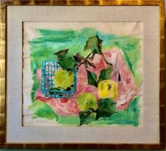 Still Life Pink & Green, Lemons, Limes in Basket Modernist Picnic Painting