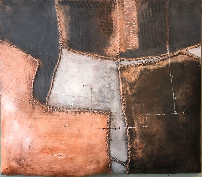 """Signed, dated, and titled """"MAX MARRA XXX 2002 verso. Mixed media sculpture painting including acrylic, ink, cord, and wax on shaped canvas, 20 3/4 x 24 in., unframed.  Ho viaggiato tra armoniose sequenze di intime trasparenze dell'anima...  Max"""