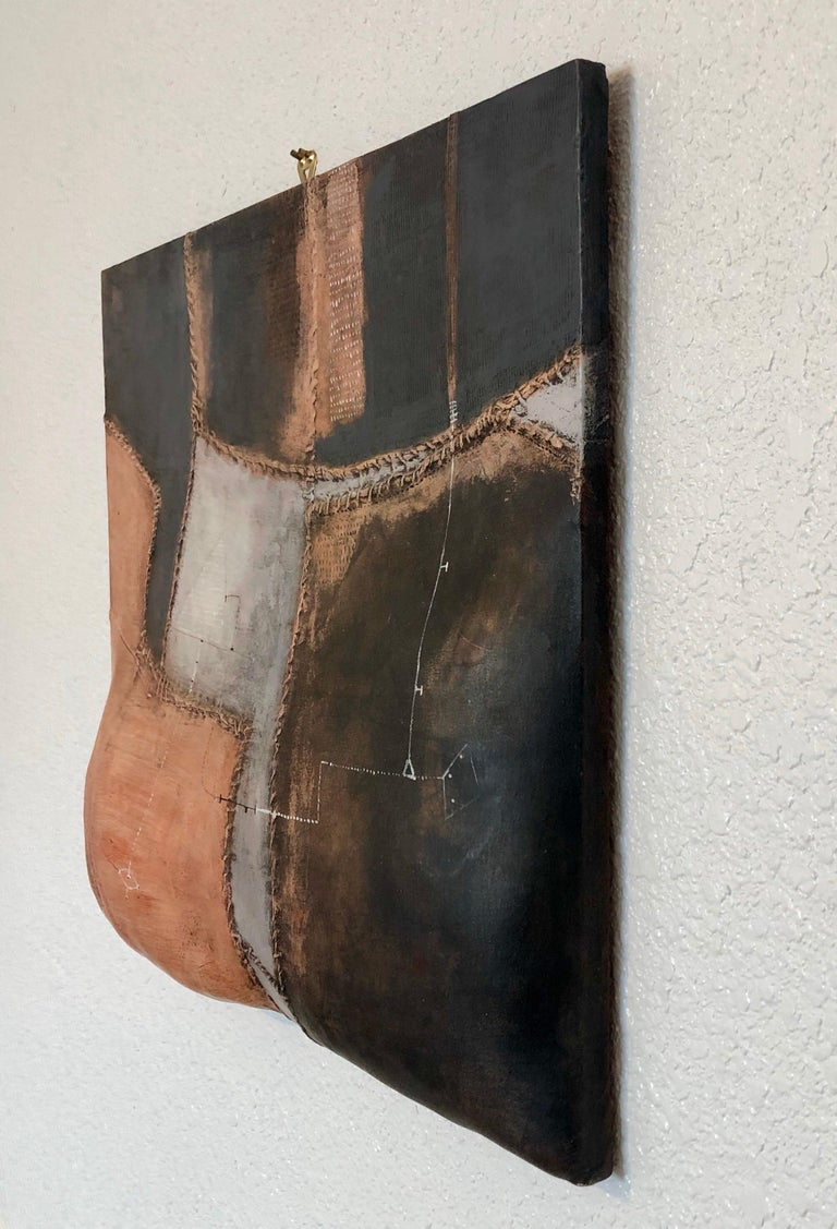 Italian Modernist Abstract Sculpture Painting Shaped Canvas Brutalist Collage  For Sale 5