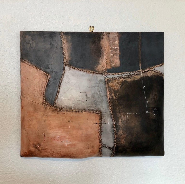 Italian Modernist Abstract Sculpture Painting Shaped Canvas Brutalist Collage  For Sale 6