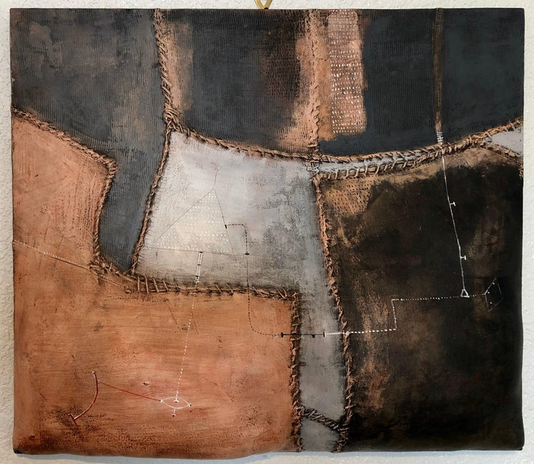 Italian Modernist Abstract Sculpture Painting Shaped Canvas Brutalist Collage  For Sale 2
