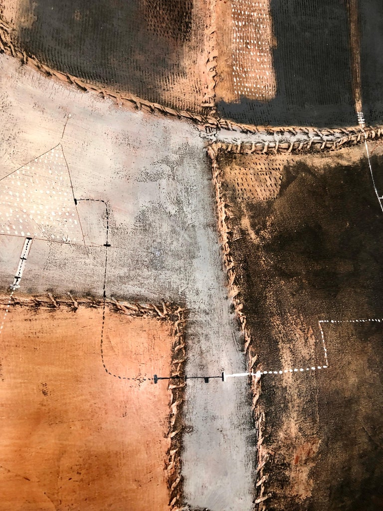 Italian Modernist Abstract Sculpture Painting Shaped Canvas Brutalist Collage  For Sale 7
