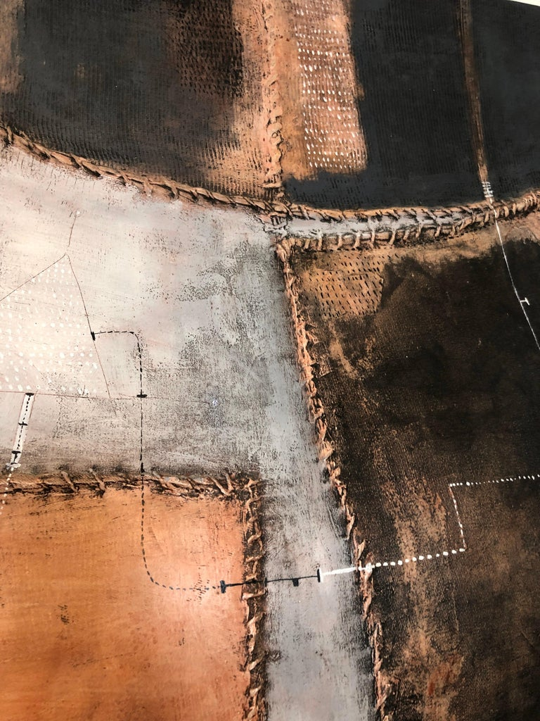 Italian Modernist Abstract Sculpture Painting Shaped Canvas Brutalist Collage  For Sale 11
