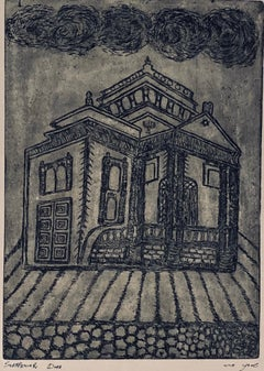 Etching of destroyed synagogue - Czenstochowa, Poland