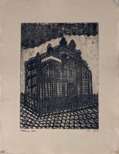 Etching of destroyed synagogue - Lodz, Poland