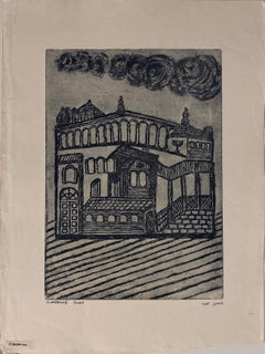 Etching of destroyed synagogue - Cracow, Poland
