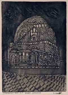 Etching of destroyed synagogue - Essen, Germany
