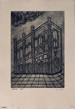 Etching of destroyed synagogue - Budapest, Hungary
