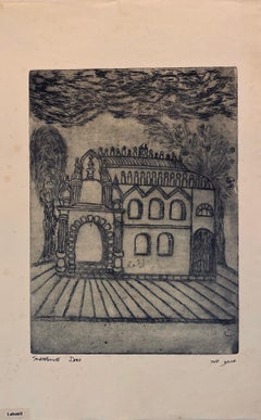Etching of destroyed synagogue - Lubomil, Ukraine