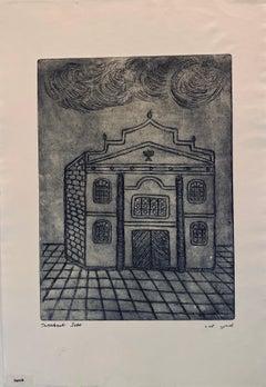 Etching of destroyed synagogue - Sanok, Poland