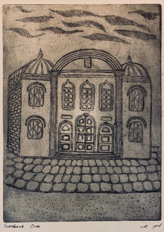 Etching of destroyed synagogue - Bialistok, Poland