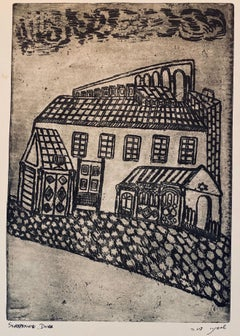 Etching of destroyed synagogue - Lwow, Poland
