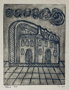 Etching of destroyed synagogue - Ludmir, Poland
