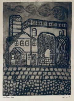 Etching of destroyed synagogue - Luck, Poland
