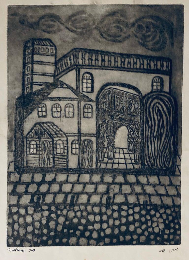 Dora Szampanier Figurative Print - Etching of destroyed synagogue - Luck, Poland