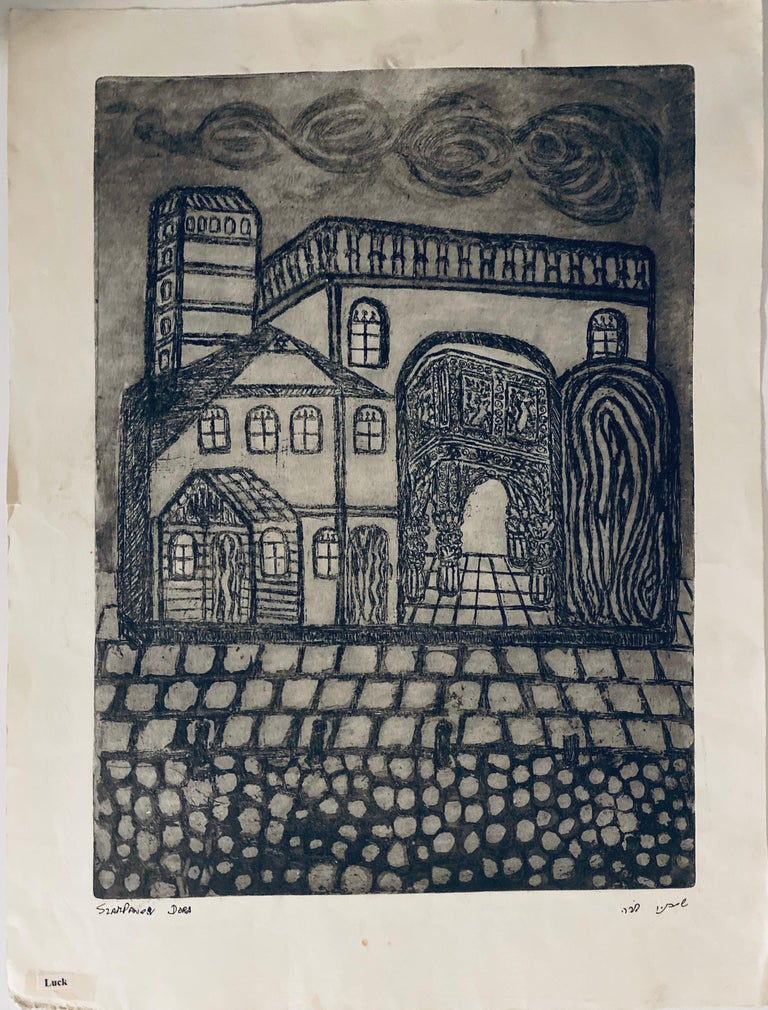 Etching of destroyed synagogue - Luck, Poland  - Print by Dora Szampanier
