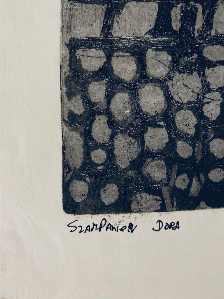 Etching of destroyed synagogue - Luck, Poland  - Folk Art Print by Dora Szampanier