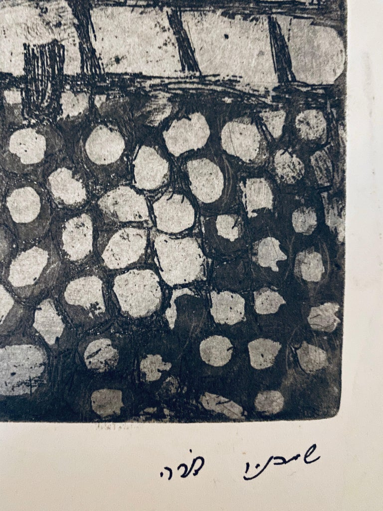 Etching of destroyed synagogue - Luck, Poland  - Black Figurative Print by Dora Szampanier