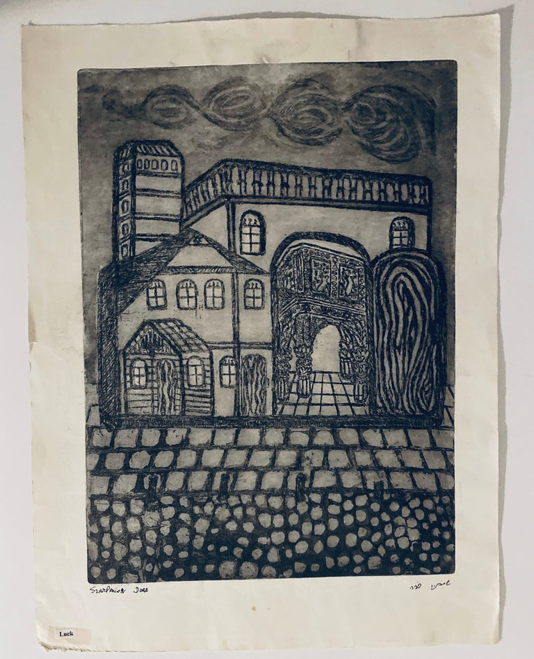 Etching of destroyed synagogue - Luck, Poland  For Sale 1