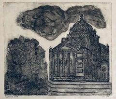 Etching of destroyed synagogue - Warsaw, Poland