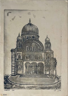 Etching of destroyed synagogue - Florence, Italy