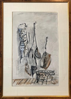 Israeli Yosl Bergner Modernist Watercolor Painting Drawing Pots, Pans