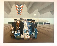 Naive Lithograph Paris Train Station Wedding Party, Honeymoon Scene Folk Art