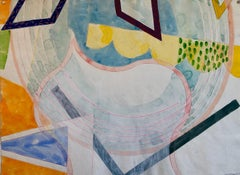 Abstract Modernist Colorful Mixed Media Painting Handmade Paper