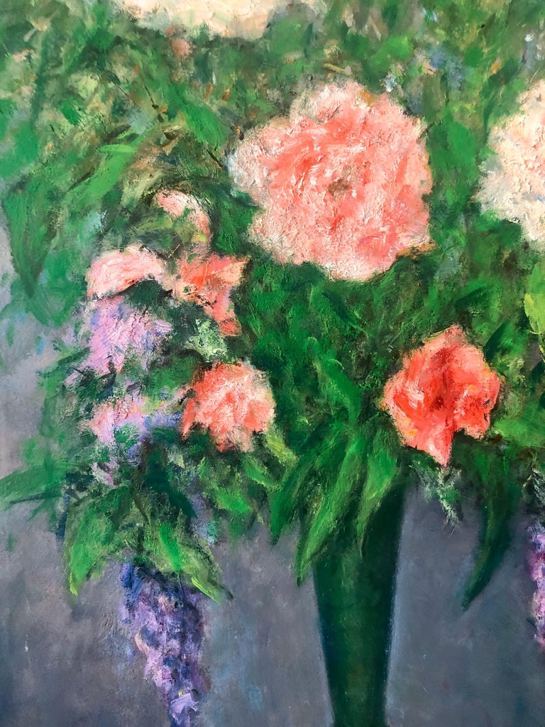 American Impressionist Floral Oil Painting Vibrant Flowers in Vase For Sale 2