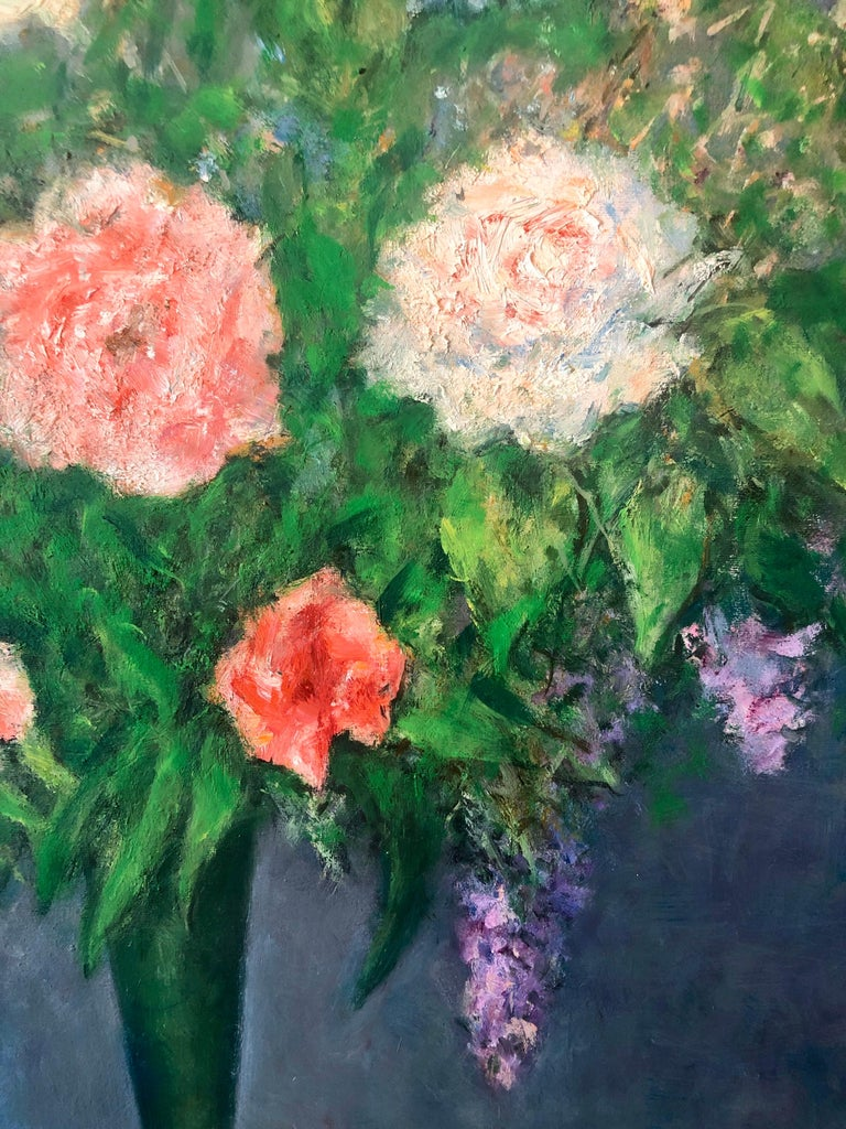 American Impressionist Floral Oil Painting Vibrant Flowers in Vase For Sale 3