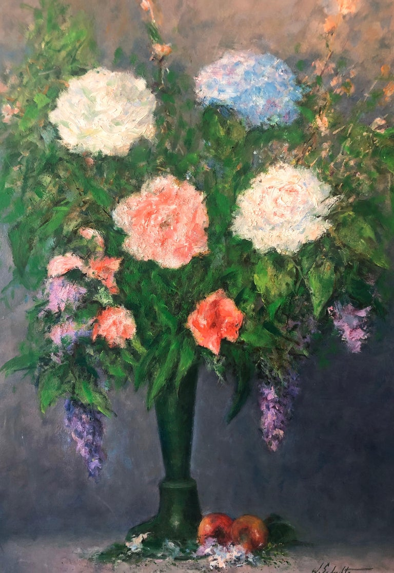 American Impressionist Floral Oil Painting Vibrant Flowers in Vase For Sale 1