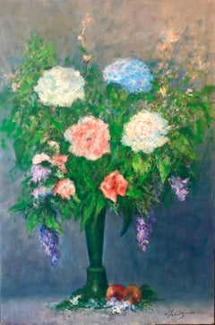 American Impressionist Floral Oil Painting Vibrant Flowers in Vase