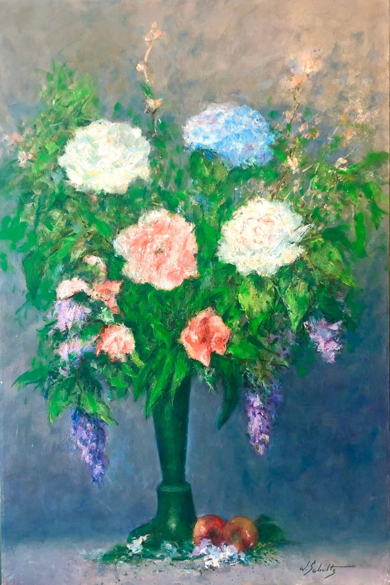 American Impressionist Floral Oil Painting Vibrant Flowers in Vase - Gray Still-Life Painting by William Schultz