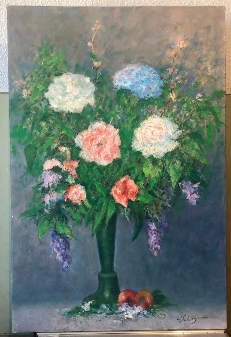 American Impressionist Floral Oil Painting Vibrant Flowers in Vase For Sale 4