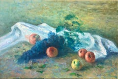 American Impressionist Fruits Oil Painting Vivid Apples and Grapes