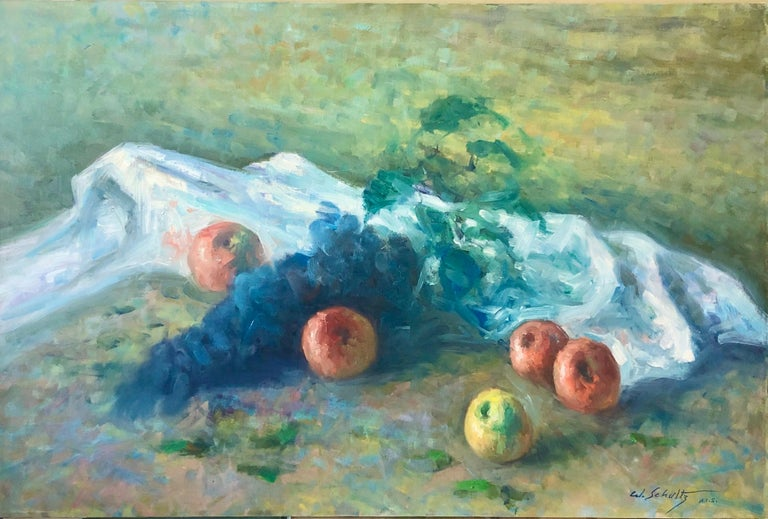 William Schultz Interior Painting - American Impressionist Fruits Oil Painting Vivid Apples and Grapes