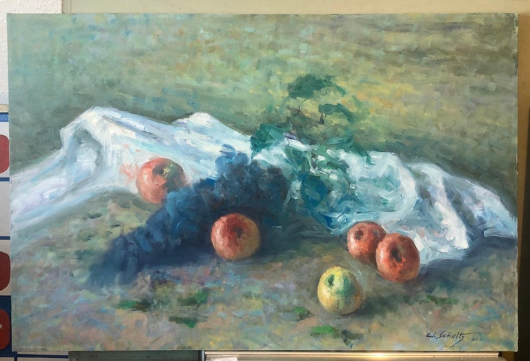 American Impressionist Fruits Oil Painting Vivid Apples and Grapes For Sale 4