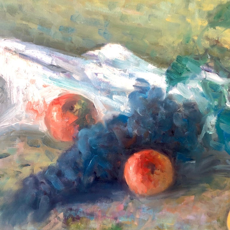 American Impressionist Fruits Oil Painting Vivid Apples and Grapes For Sale 1