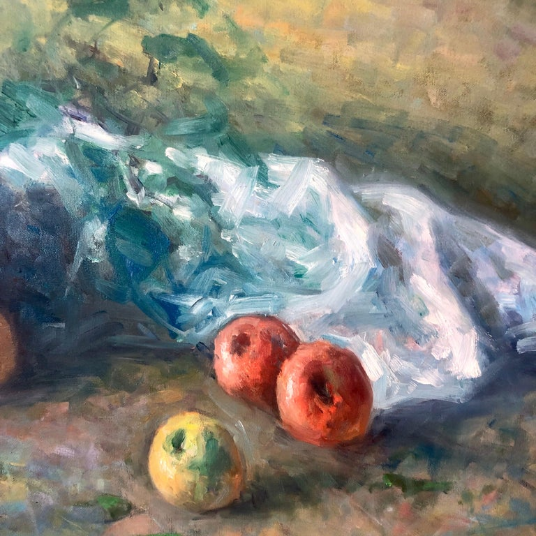 American Impressionist Fruits Oil Painting Vivid Apples and Grapes For Sale 2