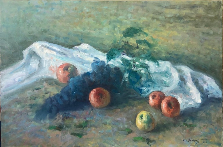 American Impressionist Fruits Oil Painting Vivid Apples and Grapes For Sale 3