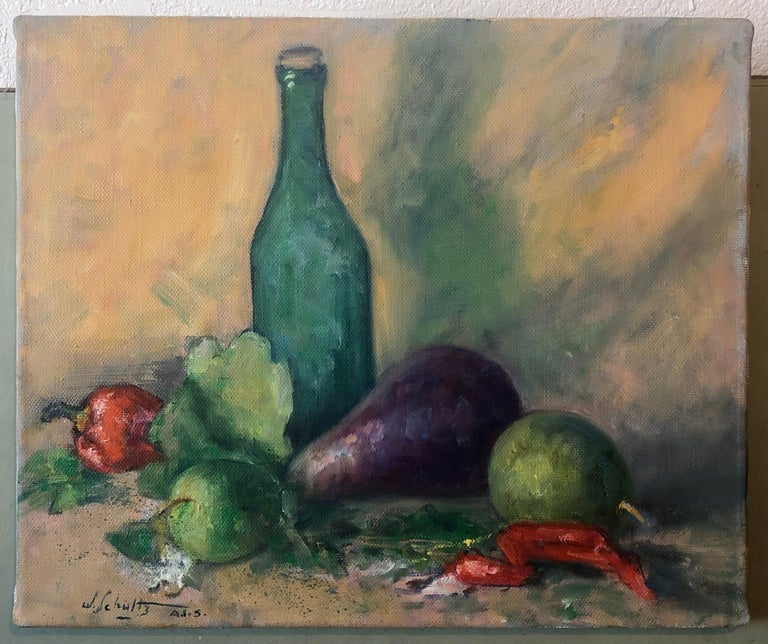 American Impressionist Fruits, Vegetables and Bottle Oil Painting For Sale 3